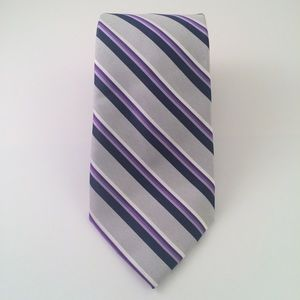 Perry Ellis Gray Navy Purple Striped Men's Tie